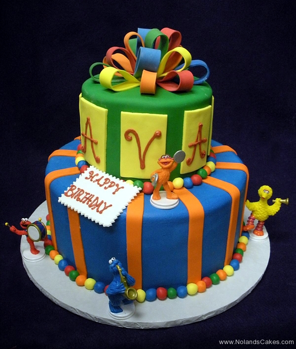 2345, birthday, sesame street, big bird, elmo, cookie monster, zoe, blue, green, yellow, red, orange, bow, bows, tiered