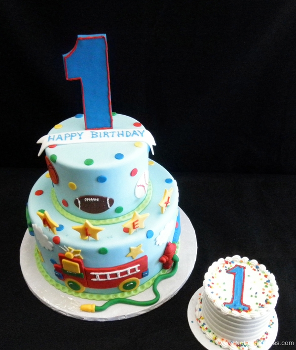 2373, first birthday, 1st birthday, sports, football, baseball, soccer, basketball, star, stars, fire truck, weeoo, red, blue, tiered