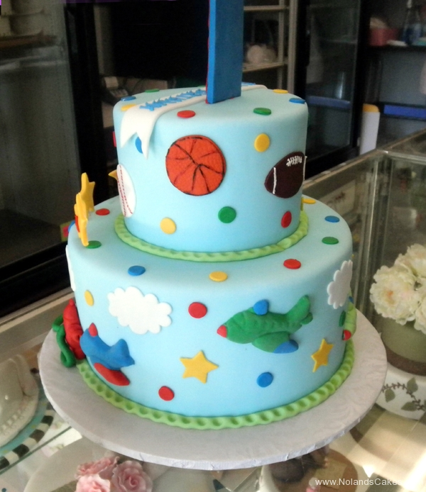 2380, first birthday, 1st birthday, sports, football, baseball, soccer, basketball, star, stars, plane, airplane, red, blue, tiered