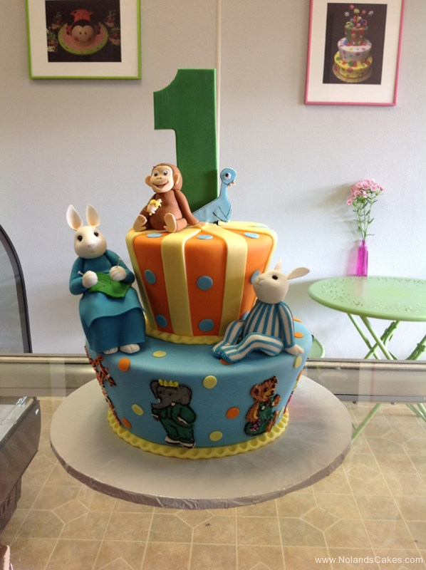 2407, first birthday, 1st birthday, monkey, bunny, rabbit, bird, elephant, orange, blue, green, figure, figures, tiered