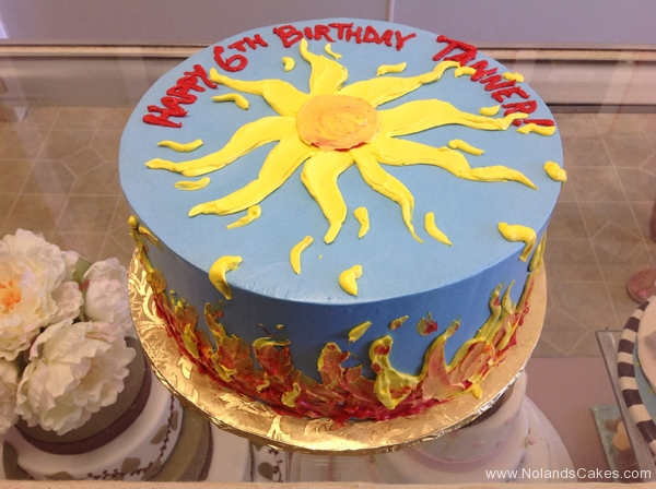 2410, 6th birthday, sixth birthday, sun, solar, fire, blue, yellow, orange