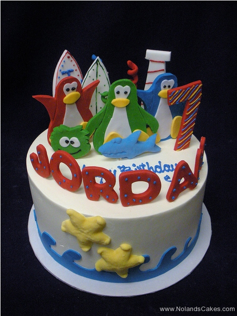 2414, seventh birthday, 7th birthday, penguin, penguins, shark,  starfish, water, surf, blue, green, red