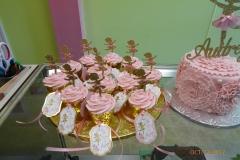 2966, 3rd birthday, third birthday, ballet, ballerina, tutu, ruffle, ruffles, flower, flowers, pink, gold, cupcake, cupcakes