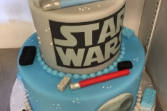 1973, birthday, star wars, jedi, lightsaber, lego, legos, blue, gray, edible image, tiered, death star