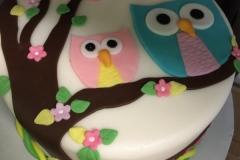 1975, birthday, owl, owls, blue, pink, tree, flower, flowers, pastel