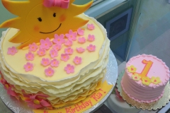 2975, first birthday, 1st birthday, flower, flowers, sun, sunshine, pink, yellow, gold, smash cake