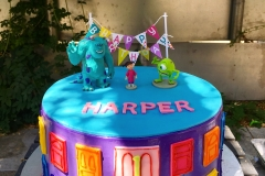 2978, first birthday, 1st birthday, monsters inc, pixar, mike, sully, blue, door, doors, purple