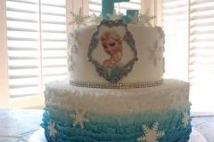 2979, 2nd birthday, second birthday, frozen, elsa, disney, disney princess, white, blue, snow, snowflake, snowflakes, edible image, tiered