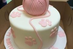 3128, birthday, cat, yarn, pink, white, paw prints, figure, figures