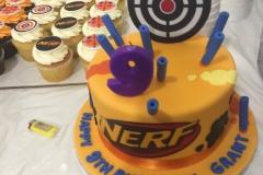 3129, 9th birthday, ninth birthday, nerf, yellow, target, purple, blue, edible image, cupcake, cupcakes
