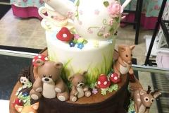 3130, birthday, bear, bears, woodland, flower, flowers, deer, hedgehog, fox, squirrel, teapot, teacup, tiered, figure, figures, white, pink, brown, wood