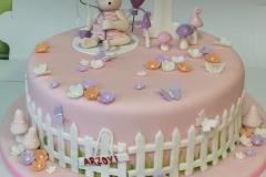 3135, first birthday, 1st birthday, flower, flowers, mushroom, mushrooms, fence, pink, purple, white, orange, figure, balloon, balloons