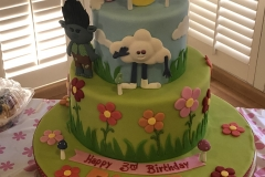 3136, 3rd birthday, third birthday, trollz, branch, poppy, cloud, clouds, grass, flower, flowers, green, blue, red, pink, tiered, figure, figures
