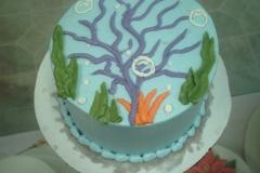 2006, 2nd birthday, second birthday, mermaid, ariel, disney, princess, the little mermaid, water, underwater, sea, ocean, fish, mermaids, blue, smash cake