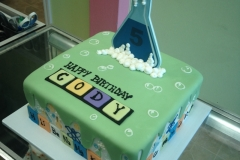 2015, fifth birthday, 5th birthday, science, flask, periodic table of the elements, green, bubbles, bubbles, blue