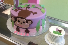 2046, first birthday, 1st birthday, monkey, leaf, vine, leaves, vines, purple, pink, green, smash cake