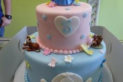 P1000047, fifth birthday, 5th birthday, disney princess, cinderella, disney, pink, blue, heart, hearts, flower, flowers, tiered