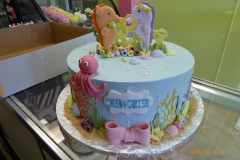P1000049, birthday, underwater, sea, ocean, octopus, seahorse, water, bow, bows, blue, pastel, pink