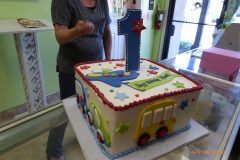 P1000054, first birthday, 1st birthday, bus, car, school, airplane, star, stars, blue, white, yellow, green