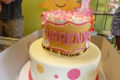 3029, first birthday, 1st birthday, sunshine, you are my sunshine, orange, yellow, pink, dot, dots, glitter, tiered