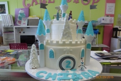 3030, second birthday, 2nd birthday, castle, blue, white, frozen, carved
