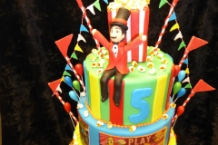 3037, fifth birthday, 5th birthday, circus, popcorn, flag, flags, pennant, pennants, blue, yellow, green, red, tiered