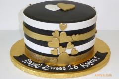 3280, 16th birthday, sixteenth birthday, heart, hearts, sweet sixteen, gold, white, black, brown