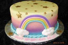 3285, 11th birthday, eleventh birthday, rainbow, star, stars, cloud, clouds, pink, purple, blue, gold