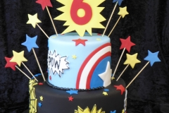 3267, 6th birthday, sixth birthday, star, stars, comic, comics, captain america, spider man, marvel, superheros, superhero, blue, red, black, yellow, tiered