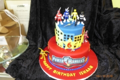 3152, 6th birthday, sixth birthday, power rangers, red, star, stars, edible image, tiered