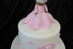 3160, 3rd birthday, third birthday, angelina ballerina, ballet, pink, white, gold, figure, figures, flower, flowers