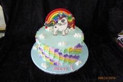 3164, 7th birthday, seventh birthday, unicorn, rainbow, pony, sky, cloud, clouds, edible image