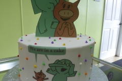 3167, 7th birthday, seventh birthday, elephant and piggie, white, brown, green, dot, dots, bright, edible image