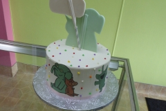 3168, 7th birthday, seventh birthday, elephant and piggie, white, brown, green, dot, dots, bright, edible image