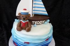 3179, birthday, sailboat, boat, bear, teddy bear, teddy, ocean, water, sea, fish, anchor, figure, figures, blue, white