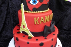 3323, 7th birthday, seventh birthday, red, black, paris, eiffle tower, mask, masque, bow, bows, dot, dots, gold