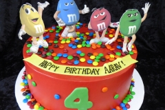 3325, 4th birthday, fourth birthday, m&ms, m and m, yellow, blue, red, green, topper