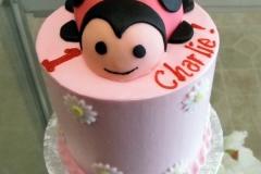 2077, first birthday, 1st birthday, ladybug, lady bug, flower, flowers, pink, red, black