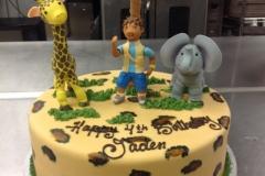 2089, 4th birthday, fourth birthday, dora the explorer, diego, giraffe, elephant, palm tree, leopard print, brown, green, figures