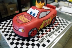 2101, 1nd birthday, first birthday, crown,  lightning mcqueen, cars, car, red, race, racecar, carved, edible image