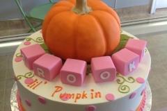 2105, birthday, pumpkin, block, blocks, pink, orange, white, dot, dots
