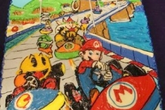 2132, birthday, mario kart, mario, race track, race, car, water, sky, hills, blue, green, red