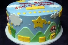 2134, birthday, super mario brothers, star, stars, mushroom, brick, bricks, sky, cloud, clouds, blue, white, yellow, green