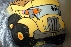 2455, first birthday, 1st birthday, dump truck, construction, carved, yellow, black