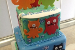 2459, birthday, ugly dolls, cartoon, blue, orange, red, green, pink, tiered