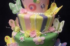2475, birthday, butterfly, butterflies, pastel, flower, flowers, stripe, dot, stripes, dots, topsy turvy, tiered
