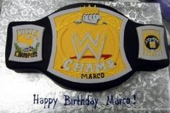 2489, birthday, wwe, wrestling, belt, championship belt, black, white, yellow, carved