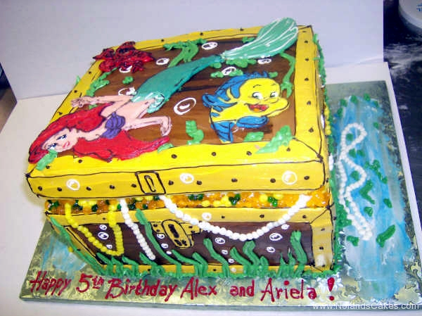 2441, 5th birthday, fifth birthday, ariel, disney, disney princess, flounder, sebastian, treasure chest, treasure, water underwater, sea, carved