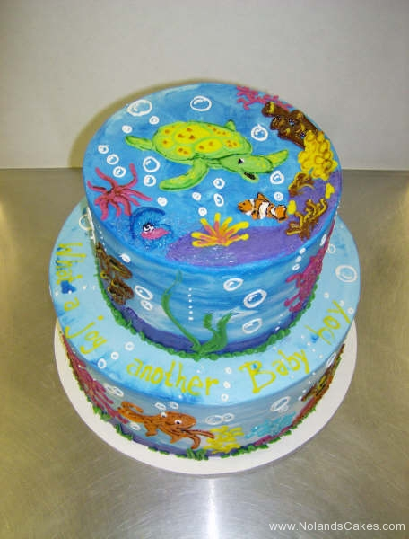 2464, birthday, under the sea, underwater, sea, ocean, turtle, fish, nemo, tiered