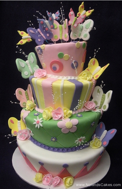 2475, birthday, butterfly, butterflies, pastel, flower, flowers, stripe, dot, stripes, dots, topsy turvy, tiered